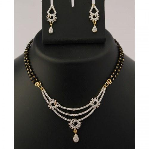 Diamond Studded Mangalsutra Necklace Set