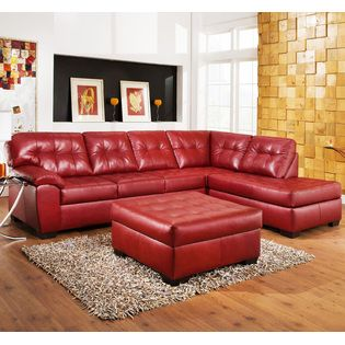 Furnituremaxx  3PC Red Leather Sectional Sofa, Chaise, Ottoman Set