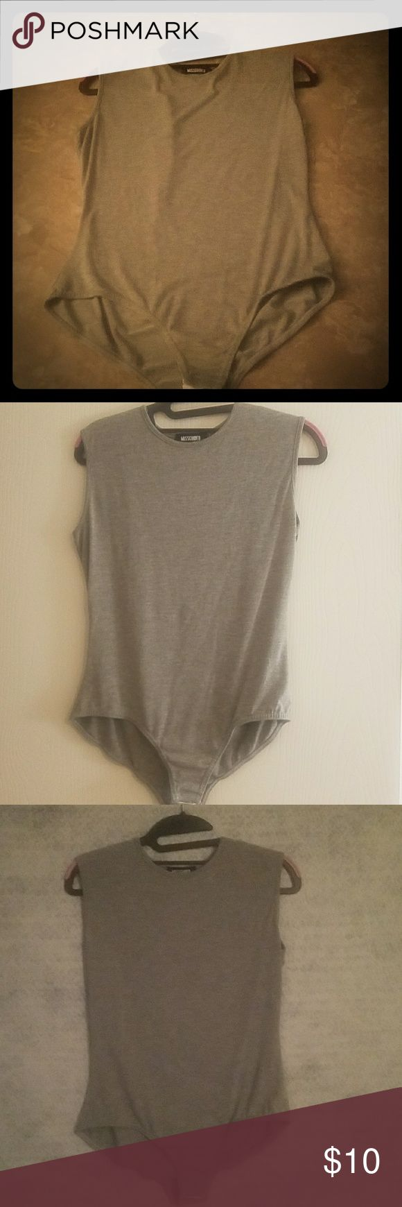 Sz 12 misguided bodysuit Soft grey size 12 body suit. Goes great with jeans misguided Tops