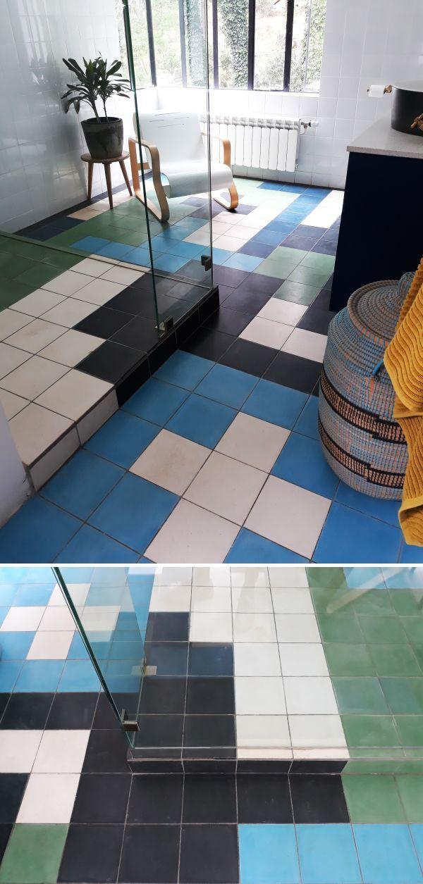 Tiles Tetris Bathroom Blue Black Green Blue Bathroom Decorative Tile