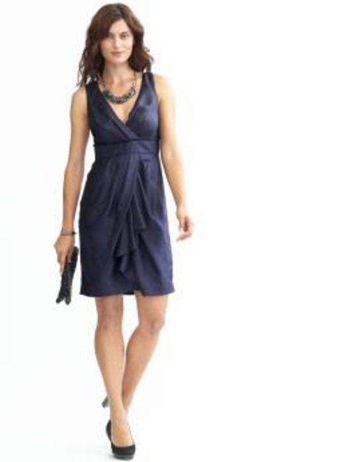 Silk navy dress; add yellow belt