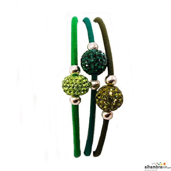 Pulsera elastica cristal tricolor verde