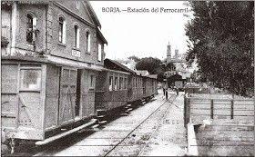 Estación de Borja, Zaragoza, ferrocarril Borja-Cortes, 1889-1955
