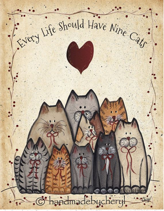 Cat Group Print Every Life Should Have Nine Cats 8 by 10 Inch Primitive Folk Art Country