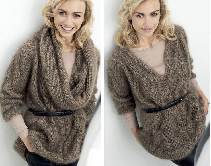 Пуловер со съемным воротником - схема вязания спицами. Вяжем Пуловеры на Verena.ru