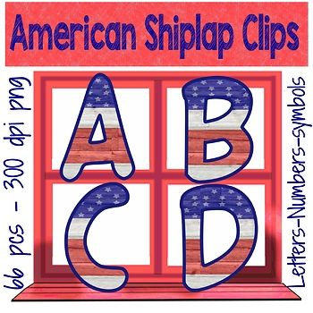 American Patriotic alphabet clipset in a gorgeous flag inspired shiplap design is the perfect backdrop for a decor theme related to Independence Day, Veterans Day, Armed Forces Day, Flag Day, Constitution Day, Lincoln's Birthday, Labor Day, Martin Luther