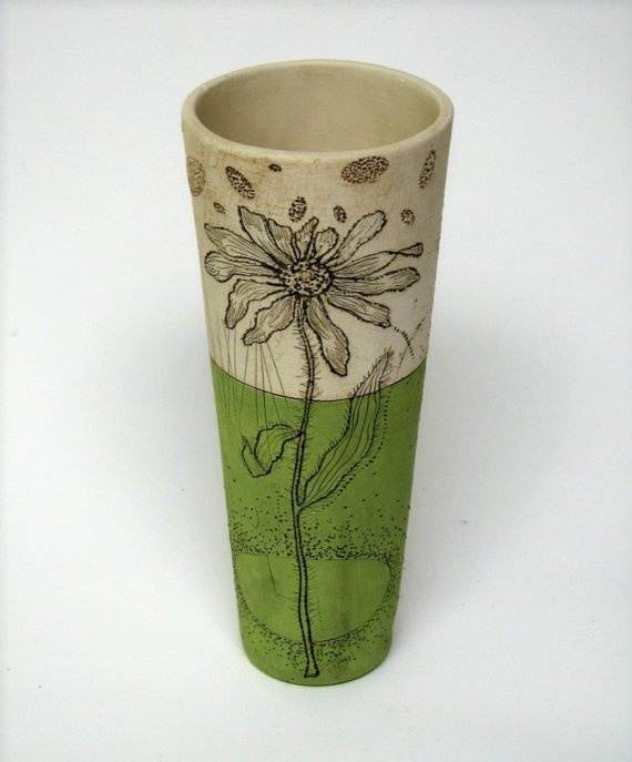 Handmade Charteuse Pottery Vase with Black Eyed Susan