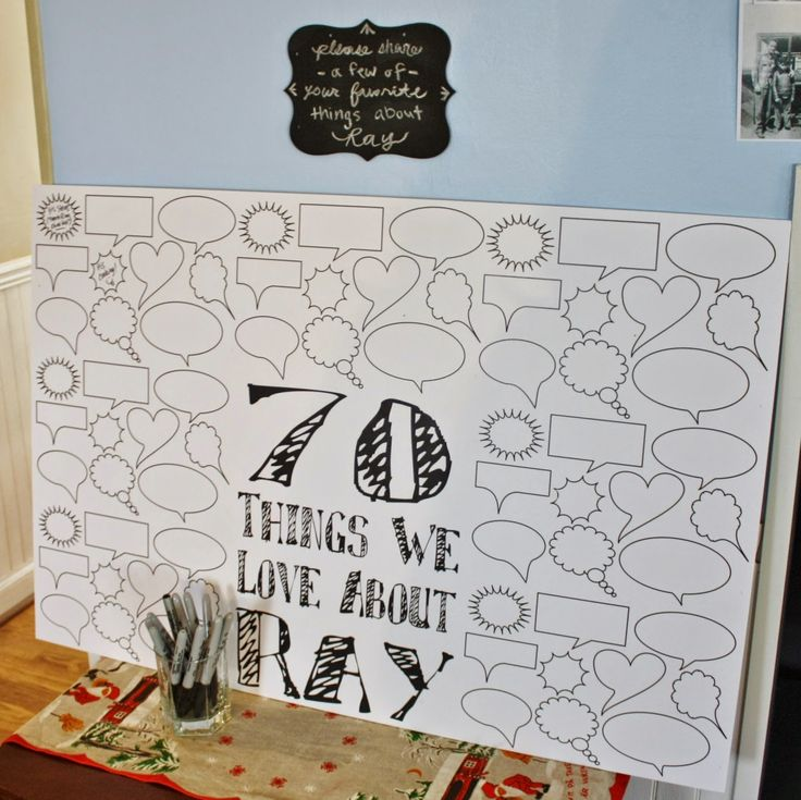 """70 Things we Love about Ray"" party decoration and interactive guest activity from dad's milestone 70th birthday party décor. Black, white, and gray chevron color scheme.  Click or visit fabeveryday.com for more planning details, inspiration, and photos from the event.  Repin if inspired!"