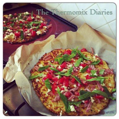 Cauliflower Base Pizza - made with 'mock rice', cauliflower that's been chopped in the Thermomix.   Must try this when my Pizza Maker arrives.