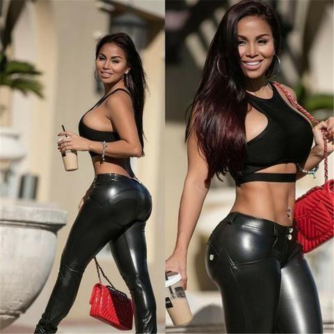 Women Elastic Leather Jean Yoga Leggings Pants