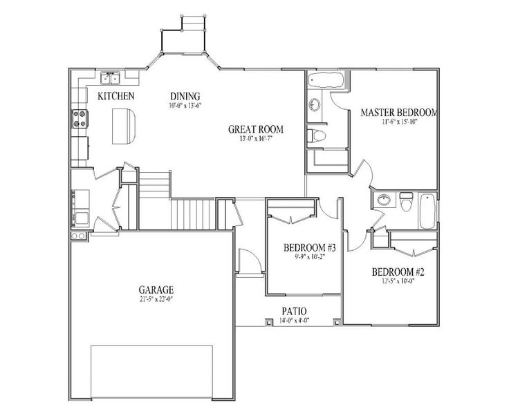 Rambler house plan arbor main floor rambler house plan for House plans rambler