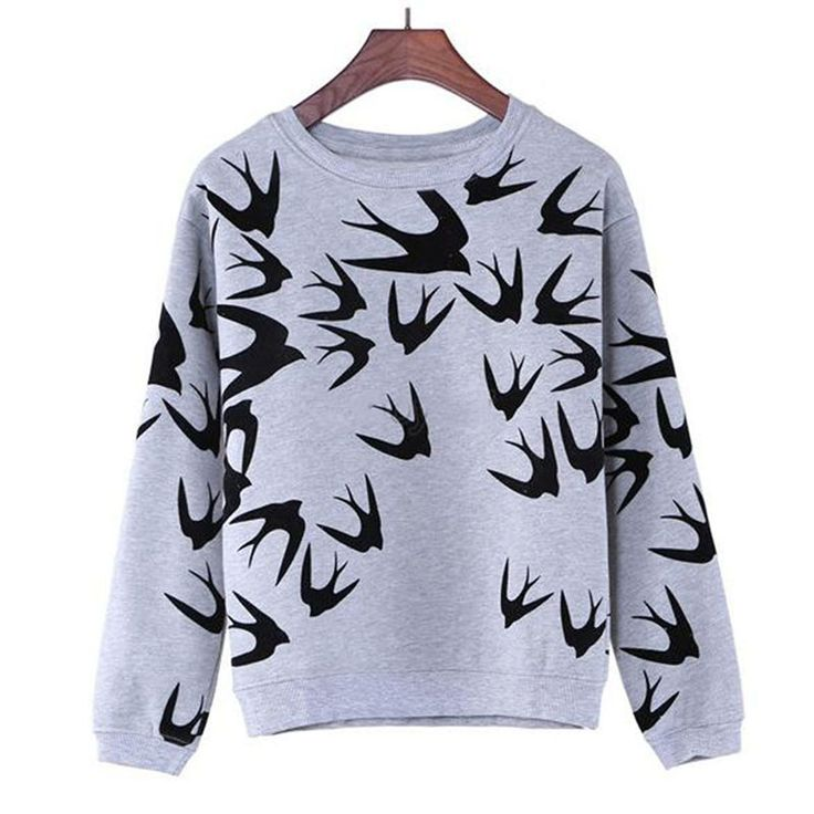 Fashion Women Swallow Printing Casual Long Sleeve  Sweatshirt Pullover Tops >>> You can find more details by visiting the image link.