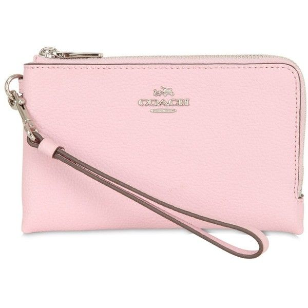Coach Ny Women Corner Leather Zip Wallet ($120) ❤ liked on Polyvore featuring bags, wallets, pink, leather wallet, zip-around wallet, pink leather bag, coach wallet and zipper bag
