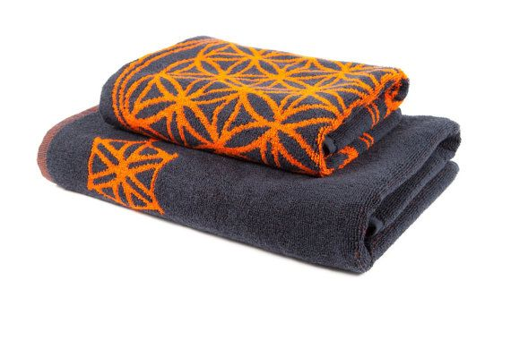 Bath Towel Set in Grey and Orange with Flower of Life Gifts for Dad Christmas Present Birthday Gift for Him
