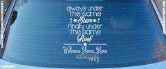 """Vinyl Stars Homecoming Decal  """"always under the same STARS finally under the same ROOF. ---*--- Welcome Home, Hero"""""""
