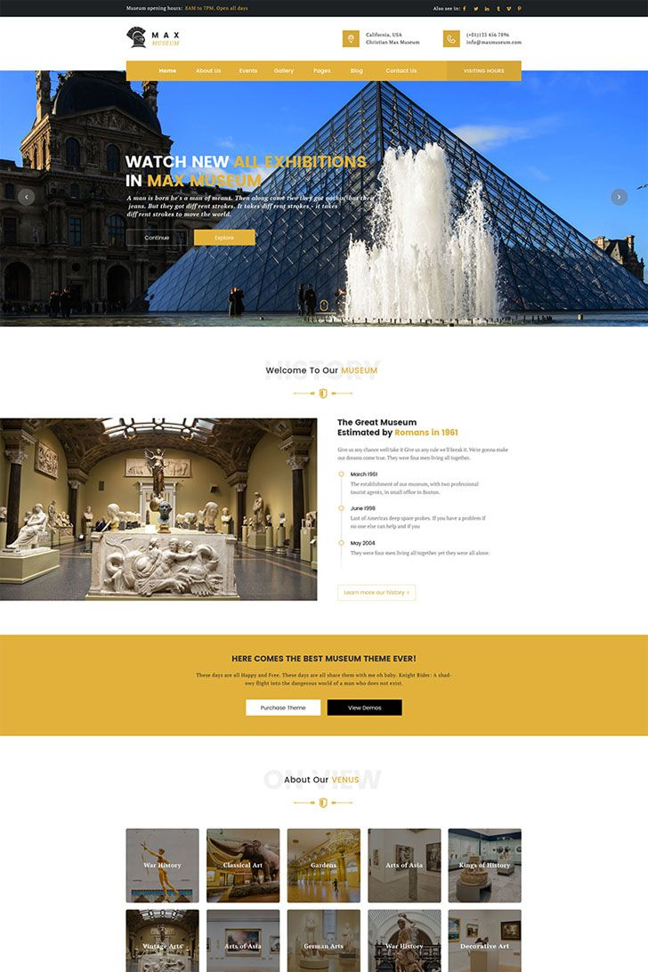 #Max #Museum #Theme has important features such as cool CSS3 effects and animations, built in Bootstrap Short codes, built-in MailChimp Newsletter, clean design and clean code, google map, awesome icons, great fonts, and so much more. This theme is compatible with all the top browsers including IE II, Firefox, Safari, Opera, Chrome, and Edge.Max Museum is easy to use, customize and comes with Page Builder (Visual Composer). This theme has a powerful admin panel, RTL support, contact form 7…
