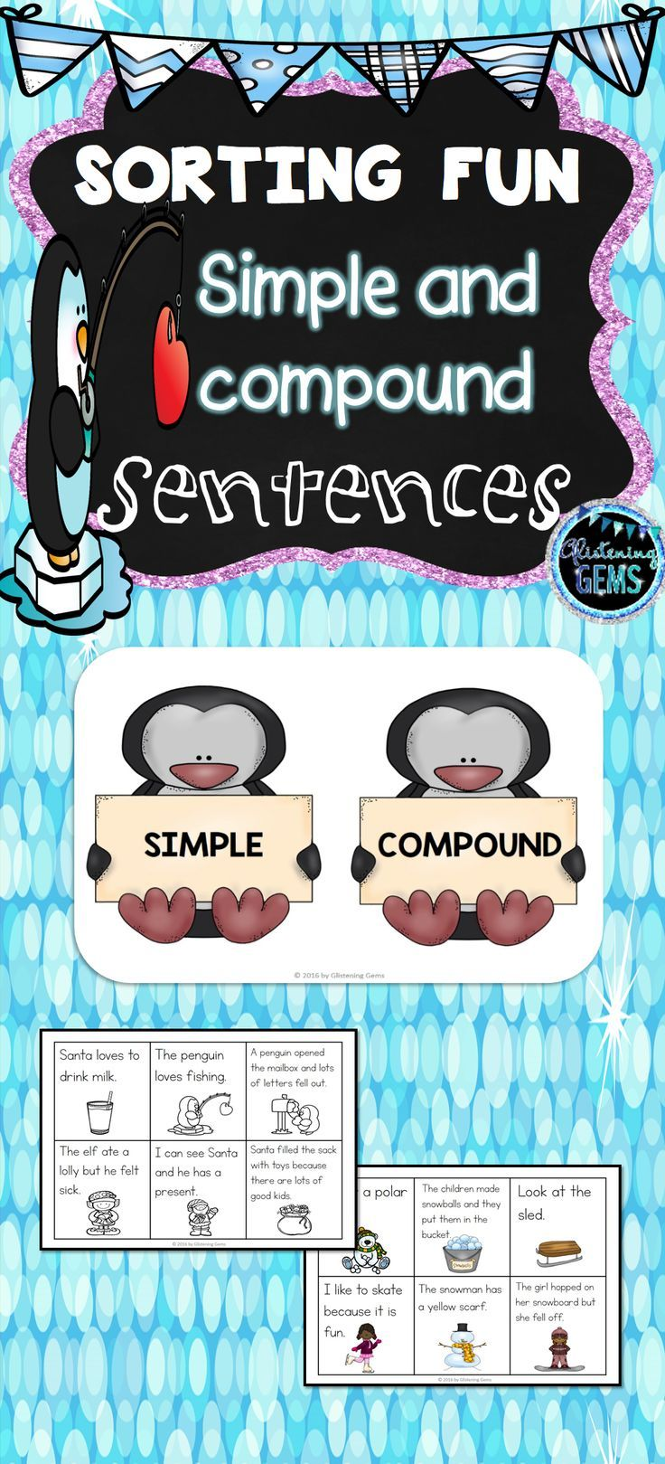 Winter Simple and Compound Sentences Sorts is a fun center activity for students to identify simple and compound sentences.