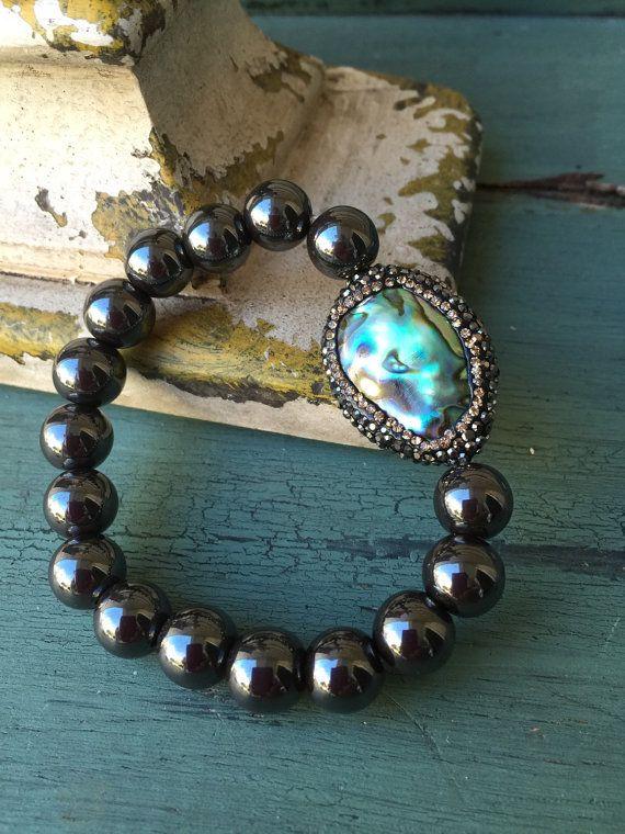Ormeau exquis coque bling hématite pierre gemme par MarleeLovesRoxy