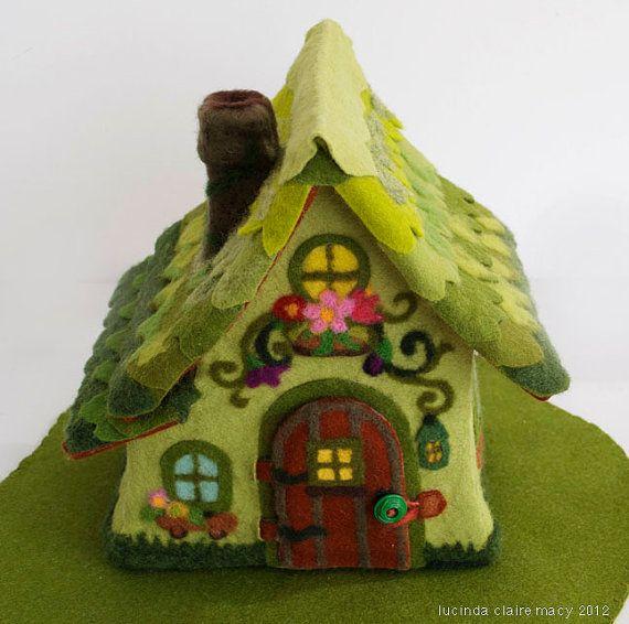 Spring Cottage Gnome Home made of Felt