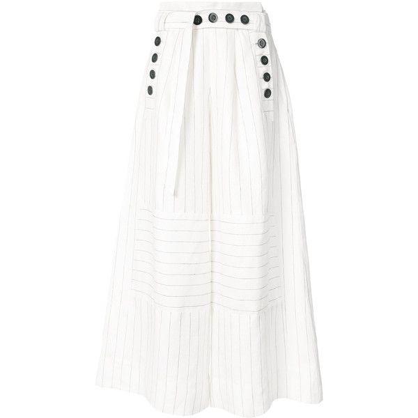 Osklen Osklen x Tarsila pinstripe palazzo pants (£520) ❤ liked on Polyvore featuring pants, white, linen trousers, osklen, palazzo pants, white trousers and white pants
