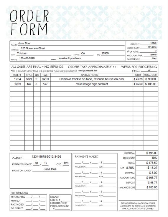 PDF General Photography Sales Order Form Template - Fillable Adobe