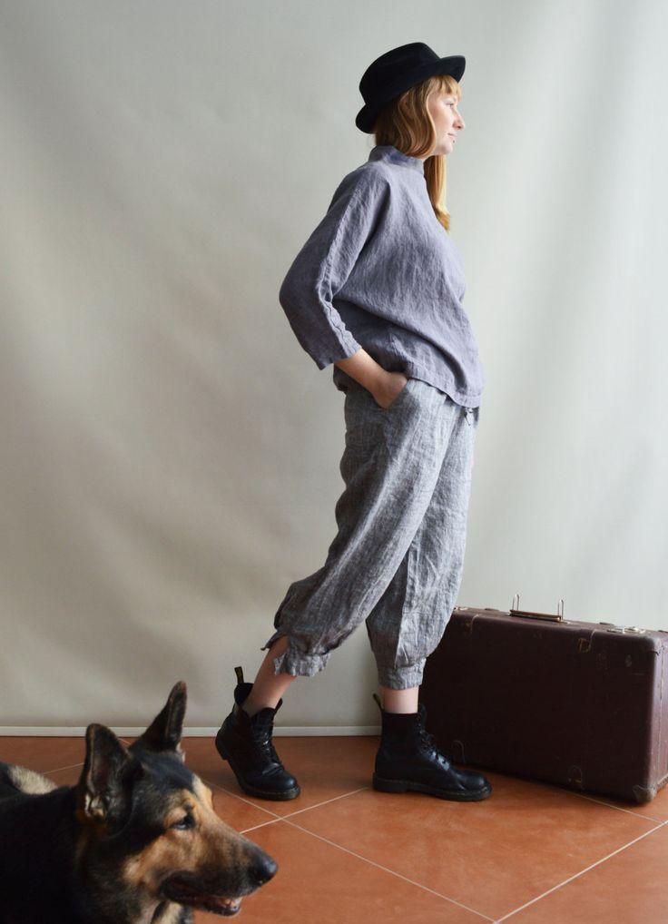 Casual Womens Capri pants, Linen trousers, 3/4 linen pants, capris trousers, plus size trousers drop crotch pants women Japanese style pants by Linenbeeshop on Etsy