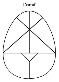 Un tangram aux formes courbes, pour créer des silhouettes de poules, oies ... et un oeuf !