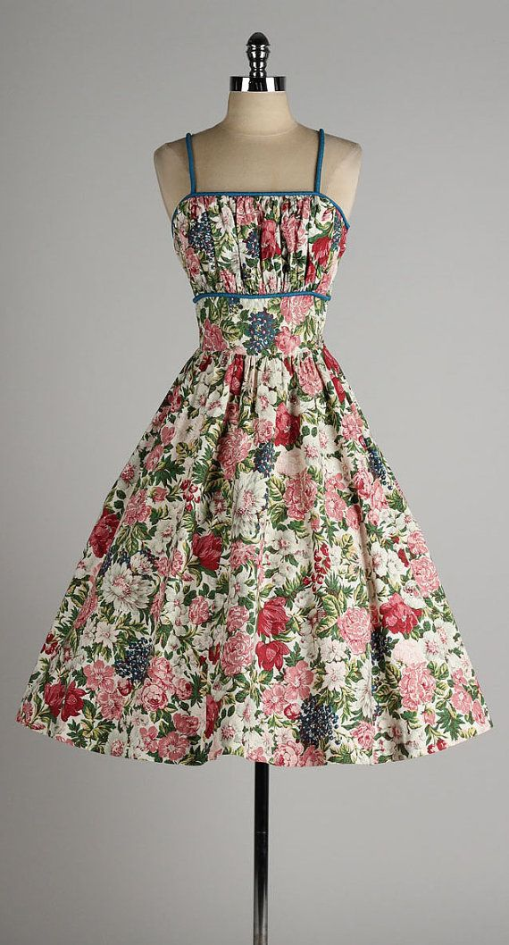vintage 1950s dress . colorful floral cotton by millstreetvintage