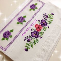Cross stitch / rose towel
