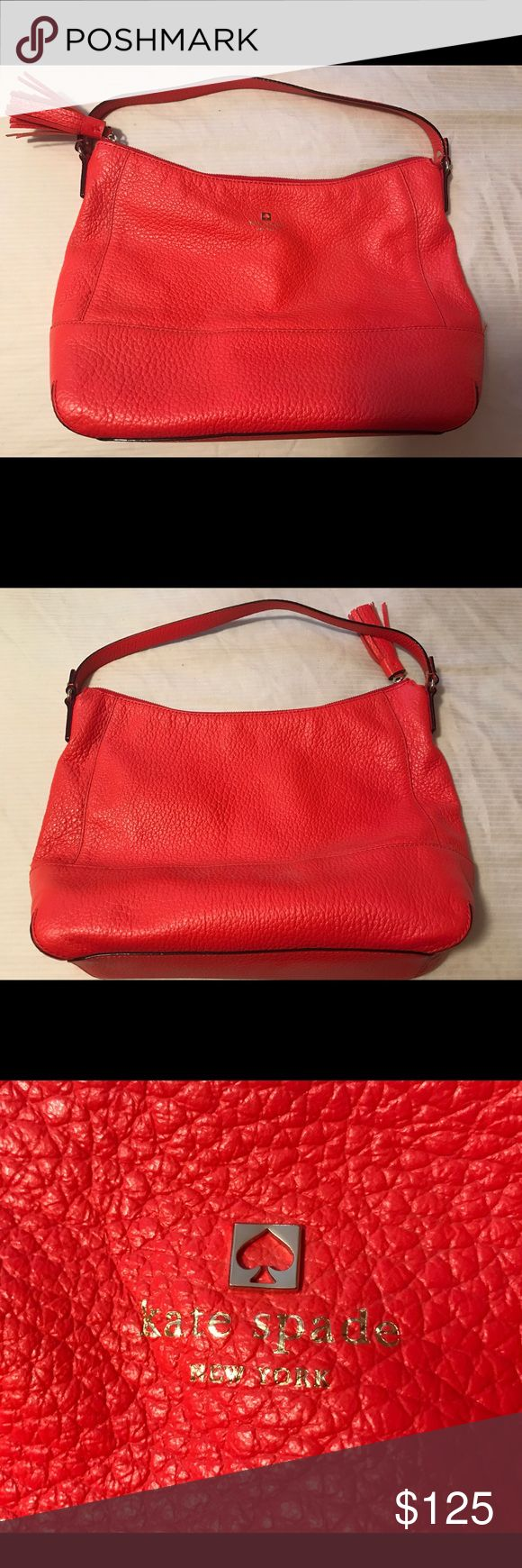 Kate Spade Large Hobo Beautiful coral pebble leather bag with 2 inside slip pockets and I inside zipped pocket. Zippered closure with tassel detail. Brand new - never used! kate spade Bags Hobos