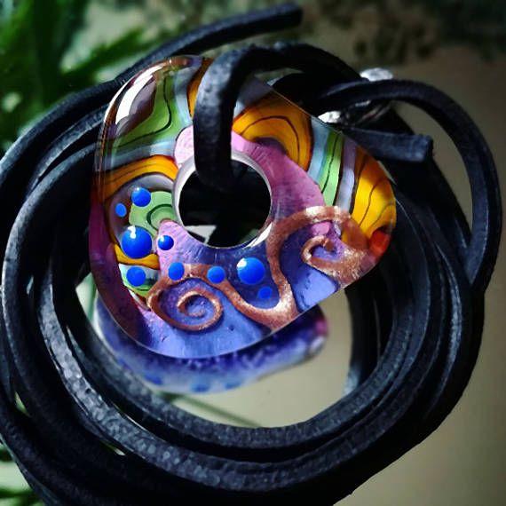 Fuego de alma  collar de arte en vidrio  cristal de Murano