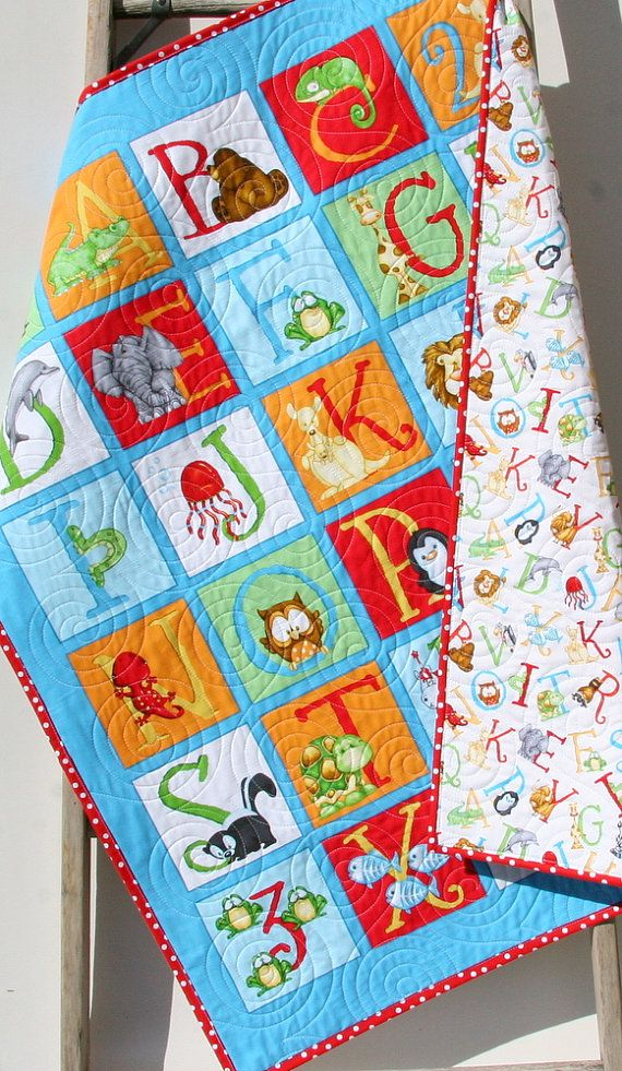 Gender Neutral Quilt, Baby Blanket, Nursery Crib Bedding, Cot Quilt, ABC 123, Number Letters Alphabet Animals Red Blue Green Blanket by SunnysideDesigns2
