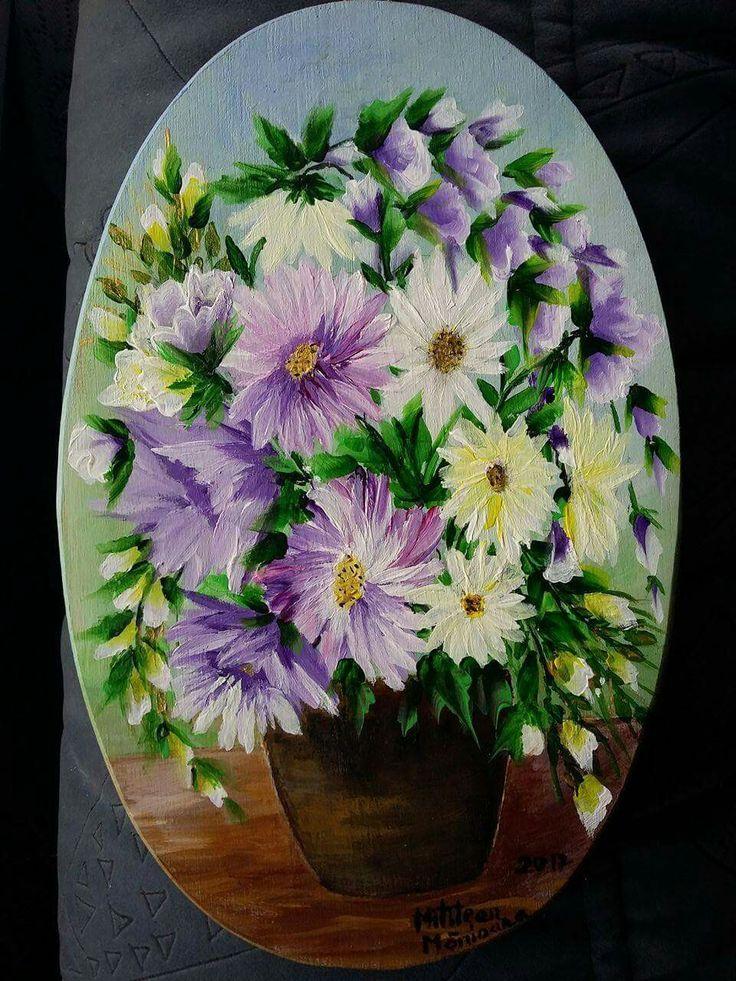 Cos cu flori(25€) Tablou pictat pe lemn Dimensiuni 23/15cm Disponibil