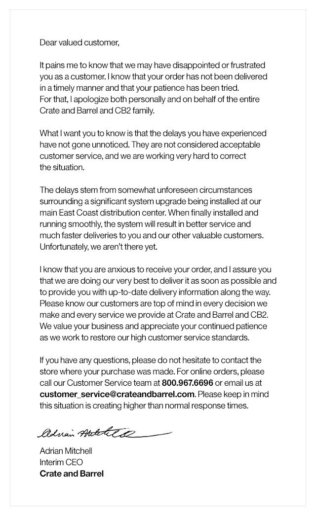 Apology Letter To Customer Business Letter Template Business