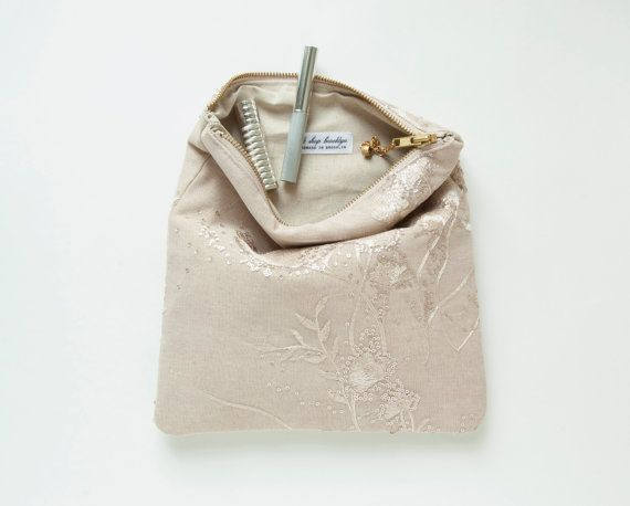GRACE Clutch. Nude blush Lace Fold Clutch. by GiftShopBrooklyn
