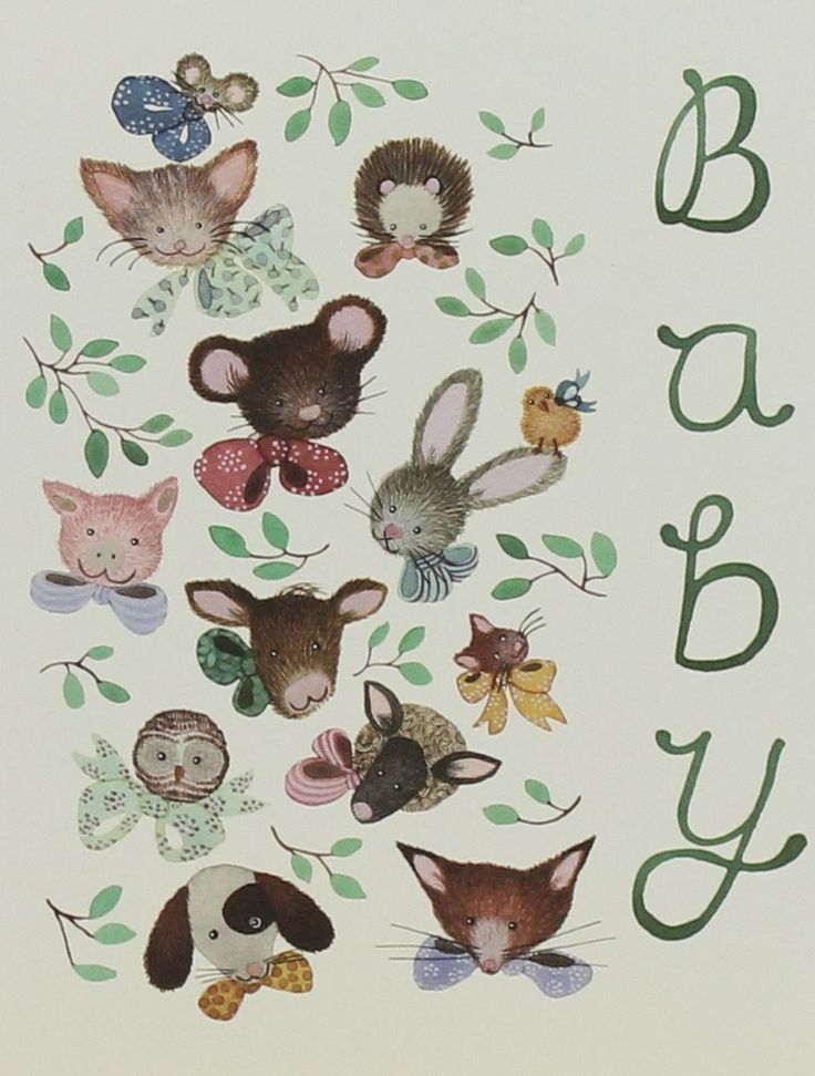 woodland creatures #babycard | mosey