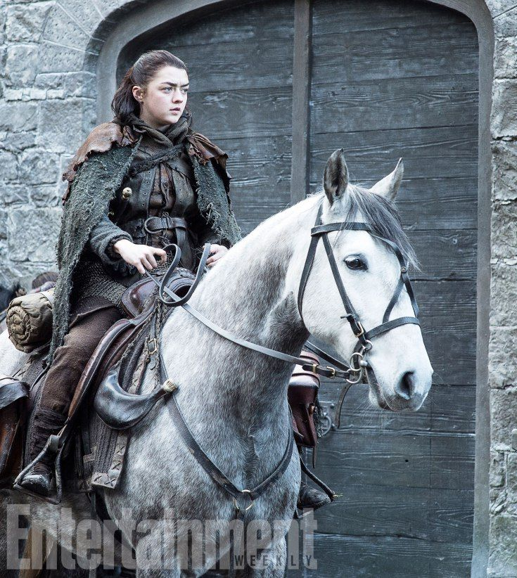 Arya Stark (Maisie Williams) mounted up and on the road — but to where? — in season 7