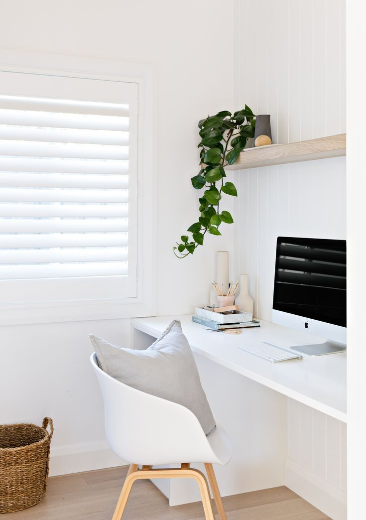 Light And Airy Office Computer Desk Styling Desk Area Office Style Open Shelf Above Desk Home Office Decor Home Home Office Space