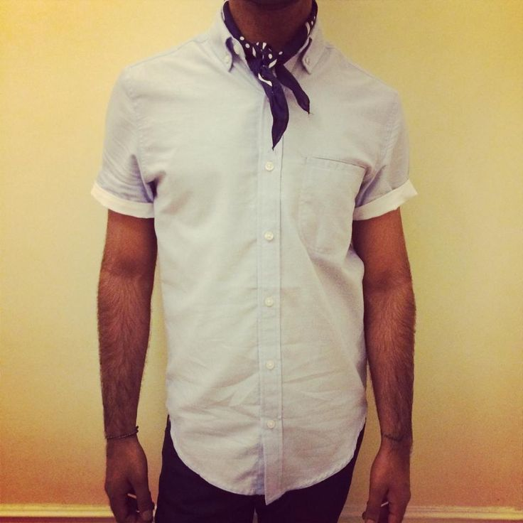 Short sleeve blue shirt and spotted nevy neckerchief both from Topman