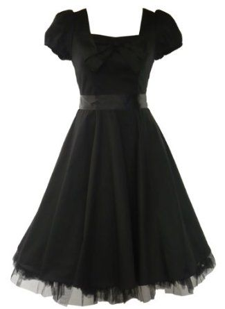 50's Vintage Tea Prom Dress Plain Black