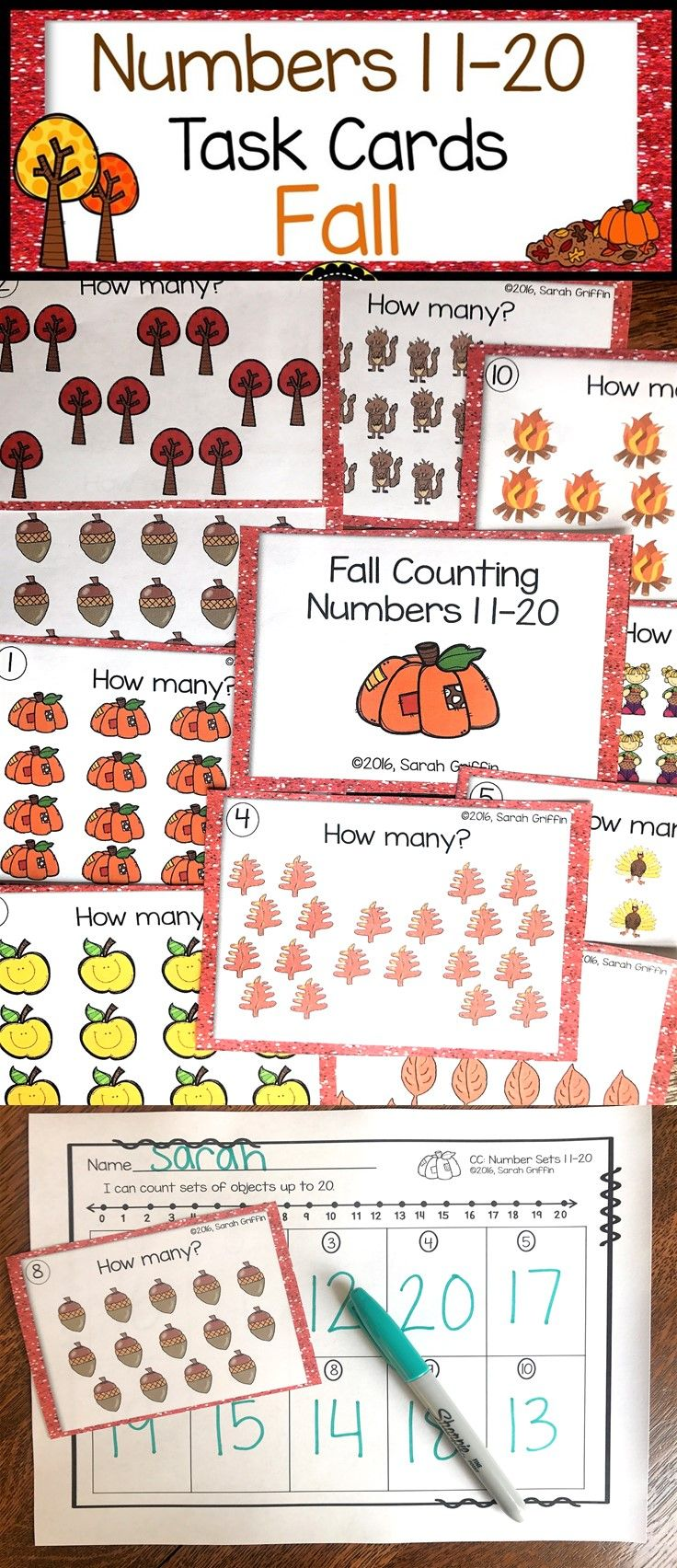 Numbers to 20 | Teens | Task Cards | Fall Theme | Math Center | Count the Room | Kindergarten | First Grade | games | scoot