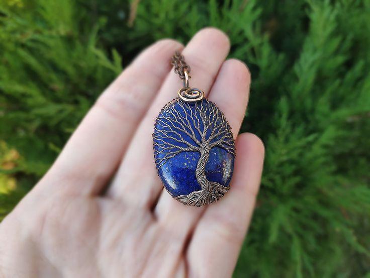 Lapis Lazuli Collier Arbre De Vie En Cuivre Collier Femme Cadeau D'anniversaire Anniversaire En Cuivre 50ème Anniversaire Cadeau pour Femme Protection Amulette   – Viking Jewelry
