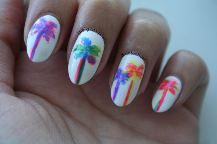 OPI Neon Revolution Palm Trees Nail Art