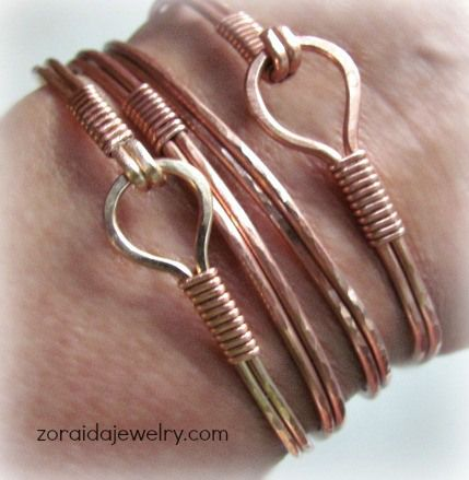 Wire bracelets tutorial, wire bangles, wire diy stackable bracelets,