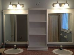 Hometalk | Large Bathroom Mirror redo to double framed mirrors and cabinet