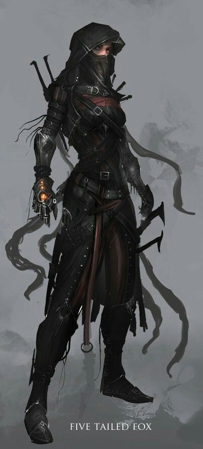 Female woman, black, magic glove, assassin, rogue, thief, hood.