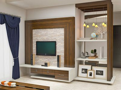 Wall Mountable TV Unit With A Back Drop Of Creamy Lined Contrast Colored Paneling