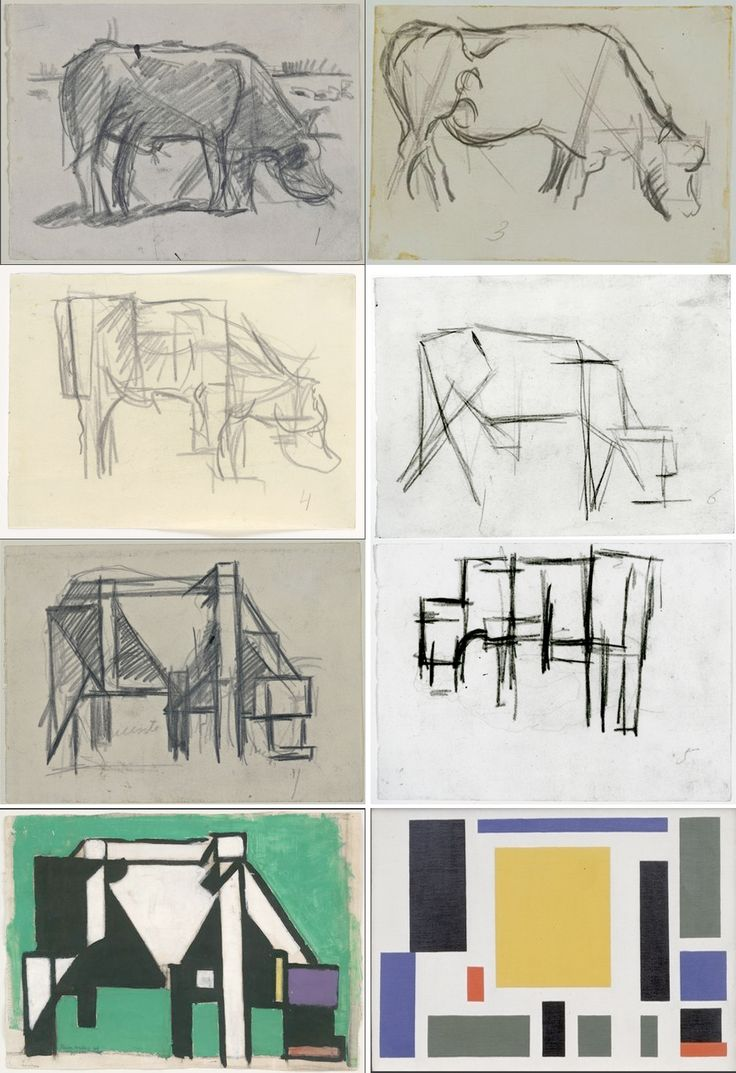 Theo van Doesburg. Cow, Cubism, abstraction, turning a realistic image and structure into cubes