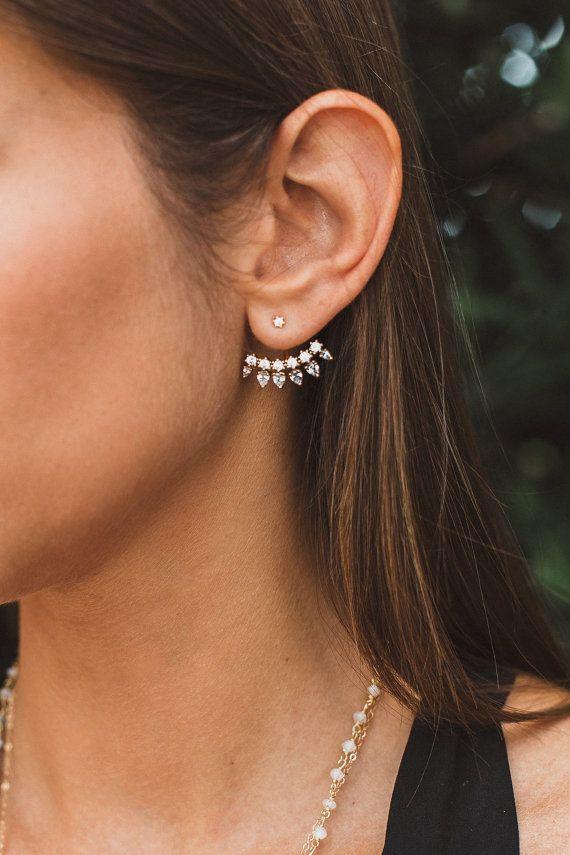 Cz Spike Earrings Ear Jackets Gold Jacket Cubic Zirconia Bridesmaid Gift Bridal Geometric In 2018 Motivation