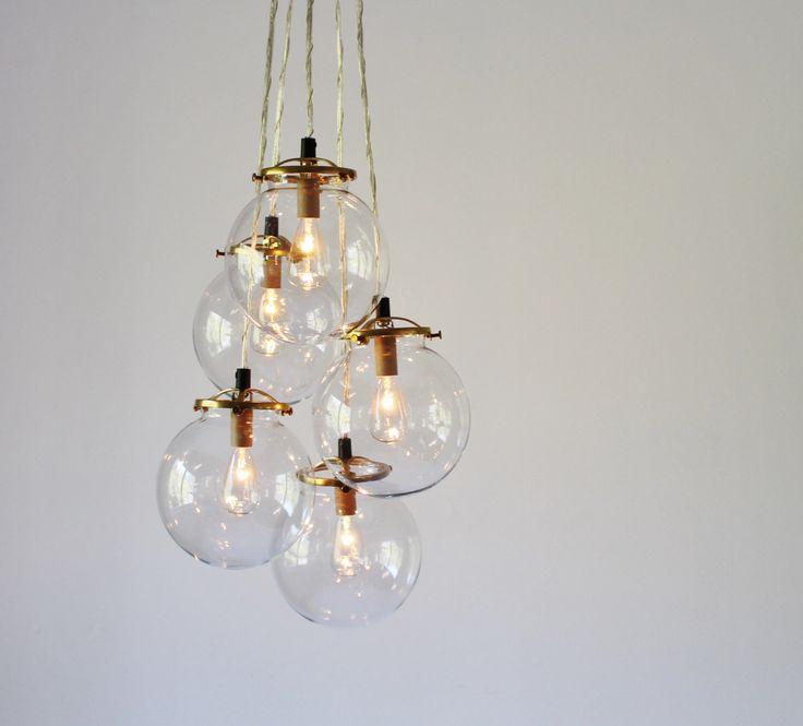 Modern Globe Pendant Lighting : Globe chandelier lighting fixture hanging clear glass